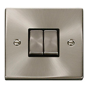 Deco 10AX Ingot 2 Gang 2 Way Plate Switch - Black - Satin Chrome