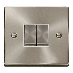 Deco 10AX Ingot 2 Gang 2 Way Plate Switch - White - Satin Chrome