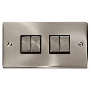 Deco 10AX Ingot 4 Gang 2 Way Plate Switch - Black - Satin Chrome