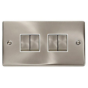 Deco 10AX Ingot 4 Gang 2 Way Plate Switch - White - Satin Chrome
