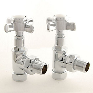 Towelrads Chrome Period Cross Head Angled TRV and Lockshield Valves 105mm x 65mm