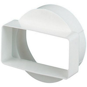 Manrose PVC White Short Round to Rectangle Adapter - 110 x 54mm