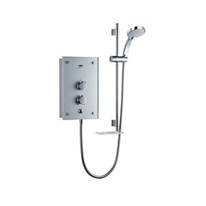 Mira Galena Thermostatic Electric Shower Metallic Silver Glass 9.8kW 1.1634.082