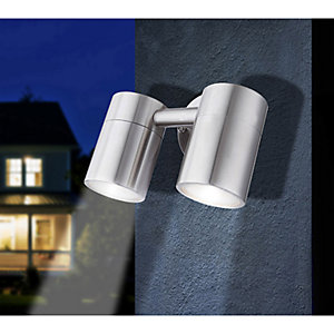 Globo 3207-2L Outdoor 5W IP44 Stainless Steel Twin Wall Light