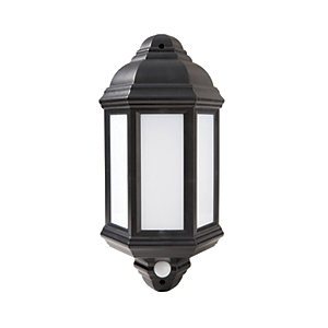 Robus Kerry 7W IP44 LED Half Lantern with PIR - 4000K - Black