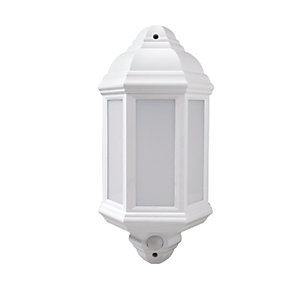 Robus Kerry 7W IP44 LED Half Lantern with PIR - 4000K - White