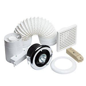 iflo Slktc Shower Fan Kit 100mm 4in Plus Light and Timer
