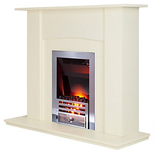 Smith's Hydroflame Inset Flame Effect Fan Convector Elite Chrome Trim