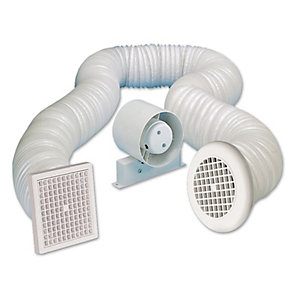 Manrose VSF100T in         -line Axial Shower Fan Kit with Timer