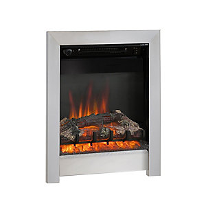 "Be Modern Athena 16"" Inset Electric Fire - Chrome with Log Bed"
