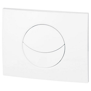 Wirquin 50718328 Pro Moon Shiny White Dual Flush Cistern Push Plate