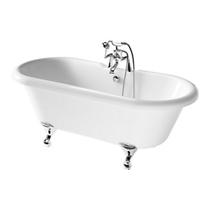 iflo Herita Freestanding 2 Taphole Roll Top Bath in White 1700 x 750mm