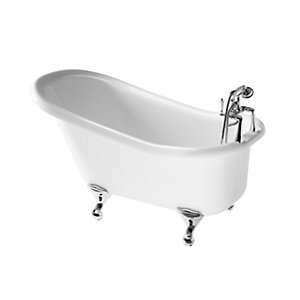 iflo Herita Freestanding 2 Taphole Roll Top Slipper Bath in White 1500 x 750mm