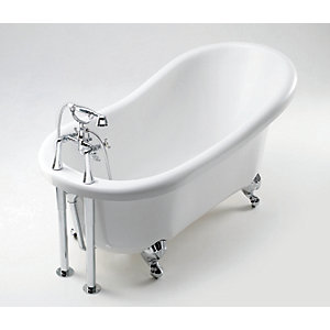 iflo Victoria Slipper Freestanding Roll Top Bath 1560 x 740 mm 2 Tap Hole
