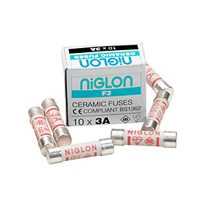 Niglon F3 3A BS1362 Mini Ceramic Fuse - Pack of 10