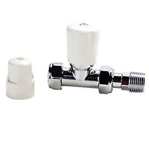 Altecnic CA-406410 Eclipse Straight Manual Radiator Valve 10mm Wheel Head & Lockshield Caps