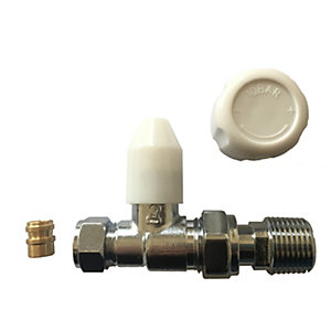 Plumbright 8 / 10 mm White Straight Rad Valve with Lockshield & Reducer