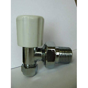 iflo 15mm Angled Wheelhead/Lockshield Chrome Radiator Valve