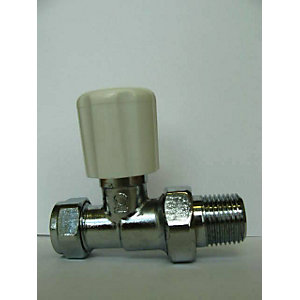 iflo 15mm Straight Wheelhead/Lockshield Chrome Radiator Valve