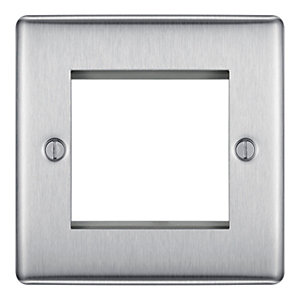 Bg NBSEMS2-01 Brushed Steel 2 Module Front Plate (50 x 50)