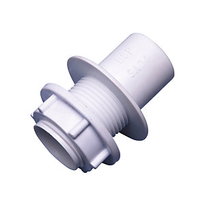 Wavin Osma 21.5 mm Solvent Weld Overflow Straight Tank Connector White 1E1129W