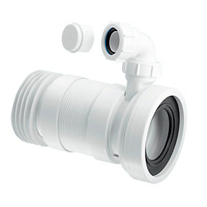 McAlpine Straight Flexible WC Connector with Vent Boss (Medium Length)
