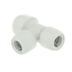 Hep2O Branch and One End Reduced Tee White 10mm x 10mm x 15mm - HD14/15W