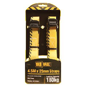 Van Vault 4.5m x 25mm Cambuckle Endless Strap Black Metal Clasp (Pair)