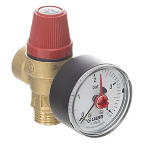 Altecnic 314430 Male x Female 3 Bar Safety Relief Valve Complete With Gauge 1/2inch
