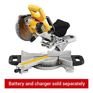 DeWalt Mitre Saw 18V Cordless 184mm Complete with Saw Blade, Charger and 2 x 4AH Batteries