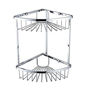 Bristan Two Tier Closed Front Corner Wire Basket 300  x 200 x 200 mm Chrome COMPBASK06C