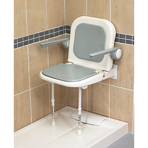 Akw 04230P Advanced Wall Mounted Fold Up Moulded Shower Seat Grey