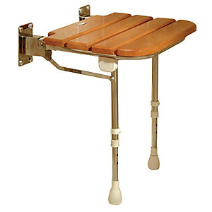 Akw 4030 Fold Up Wooden Slatted Shower Seat and Support Legs