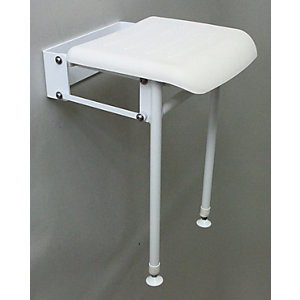 Barwood B214Msw Mild Steel Hinged Shower Seat & Legs White