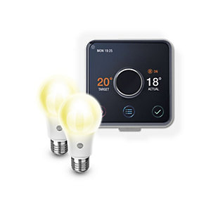 Hive Active Heating and Hot Water Thermostat & 2 x Dimmable Smart LED Bulbs Screw E27