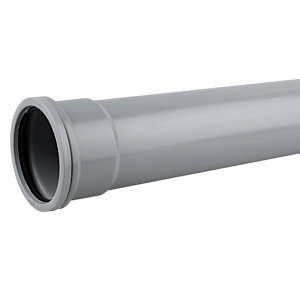 Wavin OsmaSoil System Single Socket Pipe Grey 82mm x 3m 3S043G