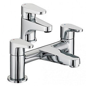 Bristan Quest Basin Mixer & Bath Filler Tap Pack Including Clicker Waste