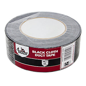 4 Trade Black Duct Cloth Tape 48mmx50M