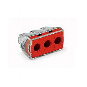 Wago 773-173 3 Way Push Wire Connector - Red - Box of 50