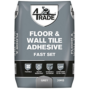 4TRADE Flexible Fast Set Floor and Wall Tile Adhesive Grey 20kg
