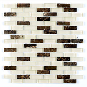 Frosted Glass Emprador Brick Mosaic Tile 30x0.5x30.5