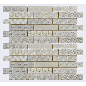 Verona 732490 Stone Mosaics Staffordshire Silver And White Mosaic Natural Stone Tile 305X305mm