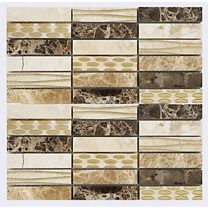 Verona 732525 Stone Mosaics Berkshire Gold Cream And Brown Mix Mosaic Tile Natural Stone 305X305mm