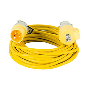 Defender E85121 14m Extension Lead - 16A 2.5mm Cable - Yellow 110V