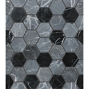 Midnight Stone Hexagon Mosaic Wall and Floor Tile 48 mm