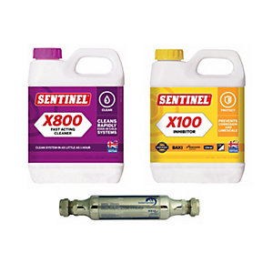 Sesi 15mm Electrolytic Scale Inhibitor with Sentinel X100 Heating System Inhibitor & X800 Jetflo Cleaner