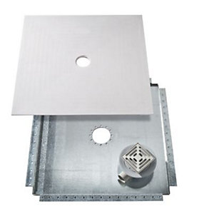 Kudos WR1300V 1300 x1300mm Floor4Ma Wet Room Shower Base Kit (Metal Tray & Vinyl Waste)