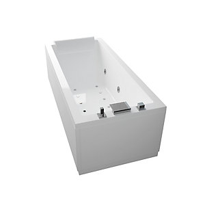 Novellini Calos Straight Whirlpool Bath 1700 x 750 mm No Tap Hole CA1317075PC-A0K
