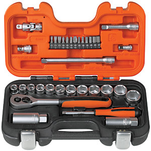 Bahco 1/4 + 3/8 Square Drive Socket Set 33 Piece
